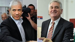 Boris Tadic (L) and Tomislav Nikolic