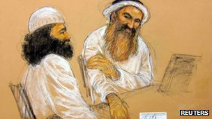 Court sketch of Waleed Bin Attash, (L) and Khalid Sheikh Mohammad