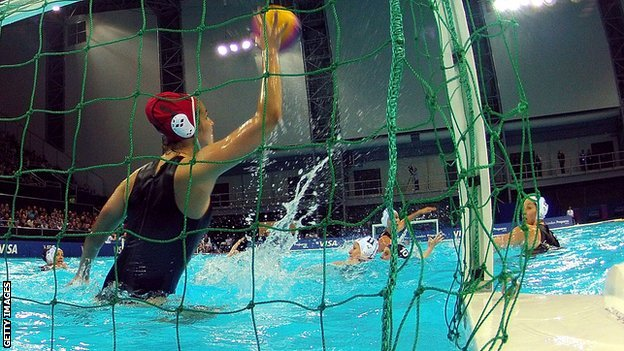 Robyn Nicholls of Great Britain saves a shot on goal during the Visa Water Polo International test event match between Hungary