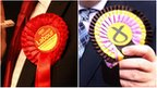 Labour and the SNP badges
