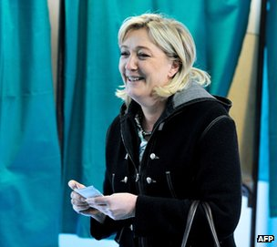 French National Front leader Marine Le Pen votes in Henin-Beaumont, northern France, 6 May