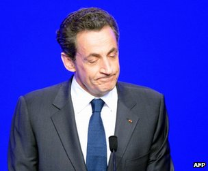 Nicolas Sarkozy addressing supporters in Paris, 6 May