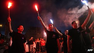 Golden Dawn supporters celebrate in Thessaloniki
