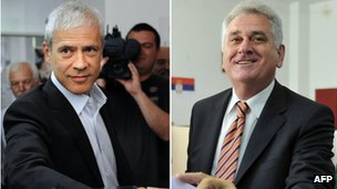 Boris Tadic (L) and Tomislav Nikolic (R) - 6 May 2012