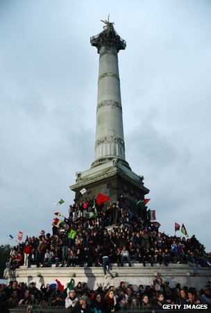 Hollande supporters on the Place de la Bastille in Paris, 6 May 
