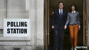 The Camerons after voting