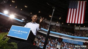 President Barack Obama speaks during a campaign rally at the Ohio State University in Columbus