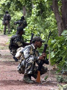 Indian troops on counter-insurgency operations against Maoist rebels