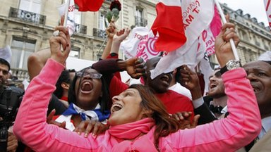 Supporters of Francois Hollande at the Rue de Solferino Socialist Party headquarters, in Paris