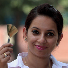 Priyanka Sharma with her biochip sensor