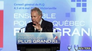 Quebec&#039;s Premier Jean Charest speaks at the Liberal Party general Victoriaville, Canada 6 May 2012