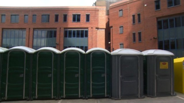Temporary toilets at the flats