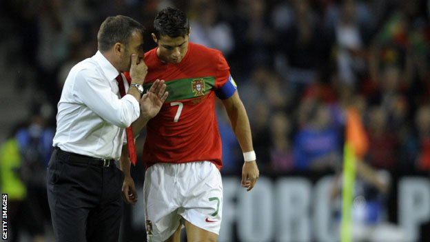 Portugal coach Paulo Bento (left) with Cristiano Ronaldo