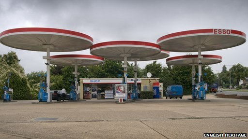 The Mobil canopies on the A6 at Red Hill, Leicestershire