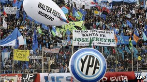 Supporters of Argentine President Cristina Fernandez de Kirchner