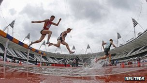 The men's 3000m Steeplechase during the BUCS Outdoor Athletics Championships at the Olympic Stadium on 7 May