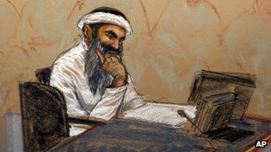 Courtroom sketch of Khalid Sheikh Mohammed 