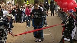 Claire Lomas crossing the finishing line