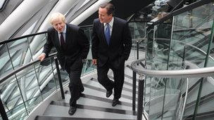 Newly re-elected London Mayor Boris Johnson and Prime Minister David Cameron at City Hall