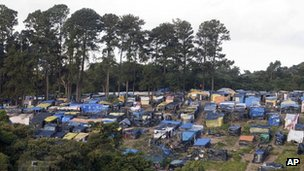 Tents are seen in a area occupied by Members of the Brazil's Landless Movement (MST) in Embu das Artes, outskirt of Sao Paulo, on 7 May