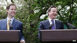 David Cameron and Nick Clegg in Downing Street garden in 2010