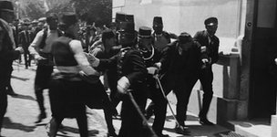 Police in Sarajevo arrest a man after a failed assassination attempt on the life of Archduke Franz Ferdinand