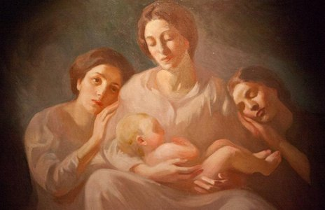 A portrait by Kahlil Gibran of his family