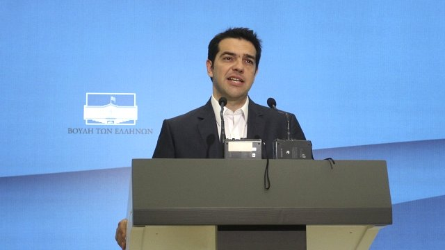 The leader of Greece's left-wing Syriza bloc, Alexis Tsipras