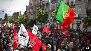 Demonstrators carrying flags, 1 May 2012