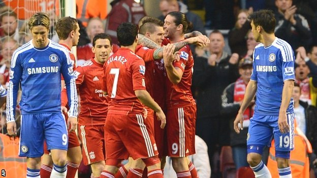 Liverpool's Daniel Agger, third right, celebrates with teammates