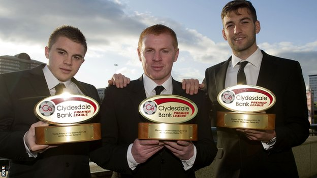 James Forrest, Neil Lennon and Charlie Mulgrew (right) show off their awards
