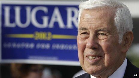 US Senator Richard Lugar outside a polling station in Greenwood, Indiana 8 May 2012