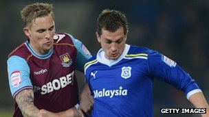 Andrew Taylor of Cardiff City in the current blue shirt