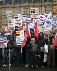 Remploy factory workers demonstrate outside Parliament on April 20