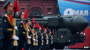 A Topol intercontinental ballistic missile launcher crosses Red Square in Moscow, 9 May