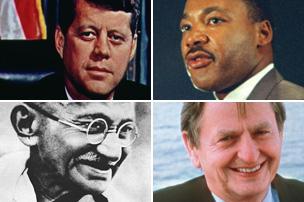 JFK, Martin Luther King, Olof Palme and Gandhi