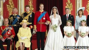 The Royal family at the wedding of the Duke and Duchess of Cambridge