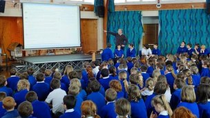 Pilton Bluecoat watched the live feed during their school assembly