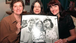 Jackie, Lynn and Sue with pictures of their younger selves in 2002
