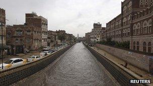 A canal in the Yemeni capital of Sanaa