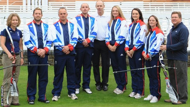 Sara Symington, (Archery GB performance director), Larry Godfrey, Simon Terry, Alan Wills, Clive Woodward (GB chef de mission), Alison Williamson, Amy Oliver, Naomi Folkard and Lloyd Brown (GB Archery head coach)