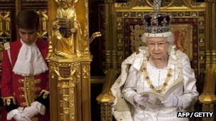 The Queen delivers her speech to parliament