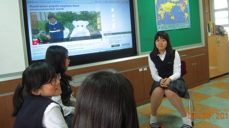 Pupils from Jeju Dong Middle School in South Korea discuss what matters to them