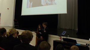 Pupils at The Academy at Shotton Hall giving an assembly on homophobic bullying