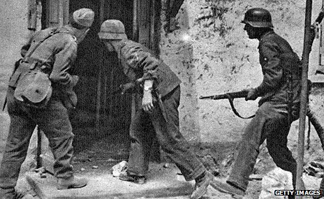 German troops storming a house