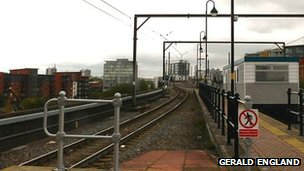 Tram track near Cornbrook Station