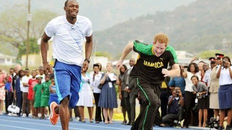Prince Harry races Olympic sprinter Usain Bolt