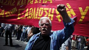 Protester in Athens, 1 May