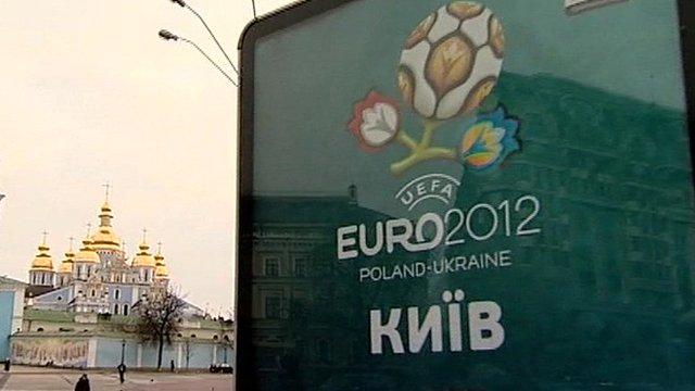 Euro 2012 poster in Kiev, Ukraine