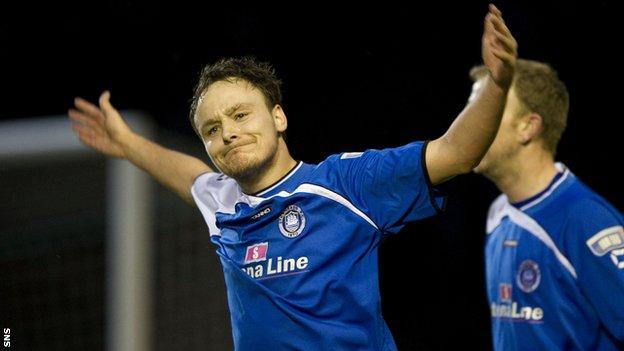 Sean Winter celebrates his second goal for Stranraer